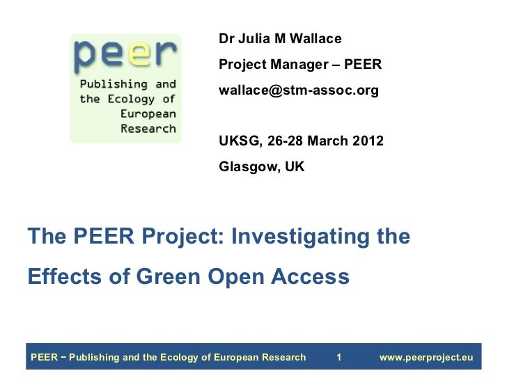 Dr Julia M Wallace                                    Project Manager – PEER                                    wallace@st...