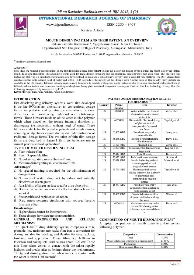 Udhan Ravindra Radhakisan et al. IRJP 2012, 3 (9)                        INTERNATIONAL RESEARCH JOURNAL OF PHARMACY       ...
