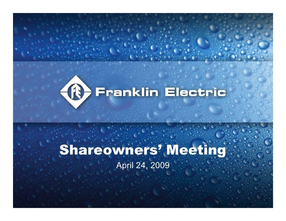 Q1 2009 Earning Report of Franklin Electric Co., Inc.