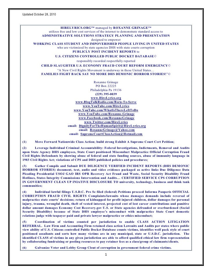 102810 HireLyrics Standard Access Intake Form State Court with State Agency DHS lawyer corruption malpractice (Roxanne Grinage)