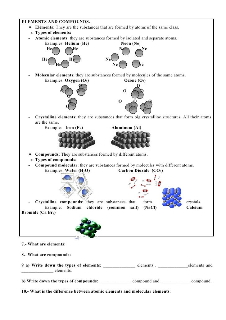 Atoms elements and compounds worksheet ks3