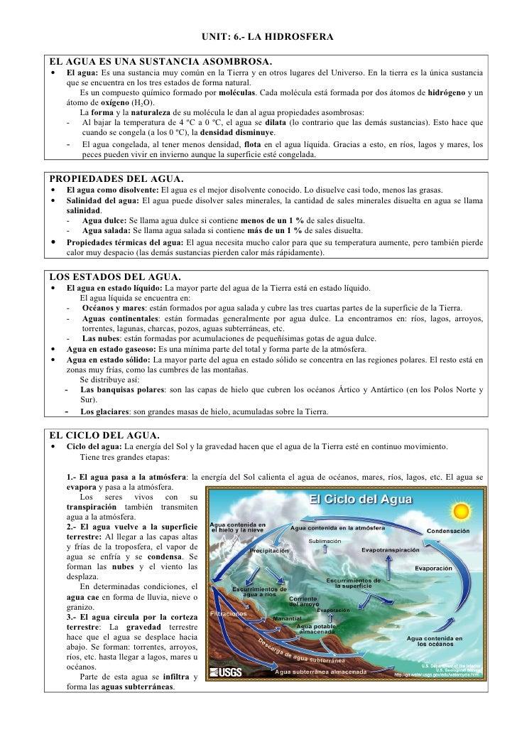 UNIT: 6.- LA HIDROSFERAEL AGUA ES UNA SUSTANCIA ASOMBROSA.•   El agua: Es una sustancia muy común en la Tierra y en otros ...
