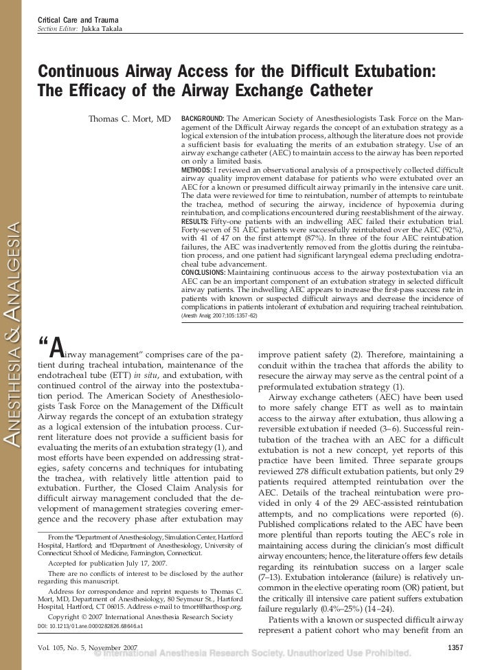 Critical Care and TraumaSection Editor: Jukka TakalaContinuous Airway Access for the Difficult Extubation:The Efficacy of th...