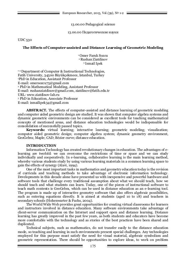The Effects of Computer-assisted and Distance Learning of Geometric Modeling