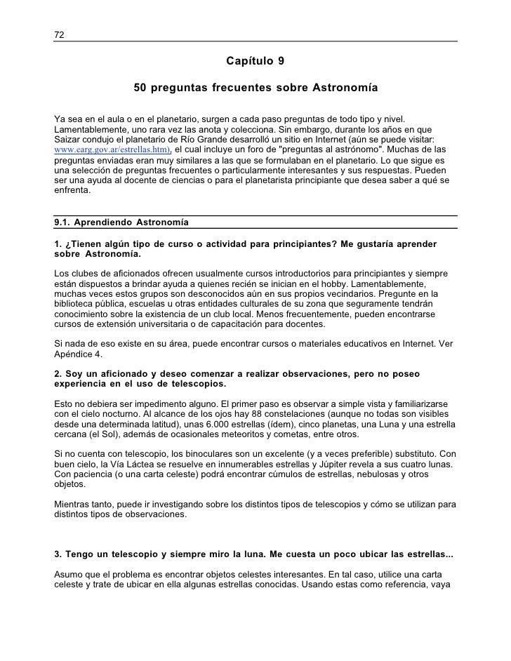 72                                           Capítulo 9                    50 preguntas frecuentes sobre AstronomíaYa sea ...