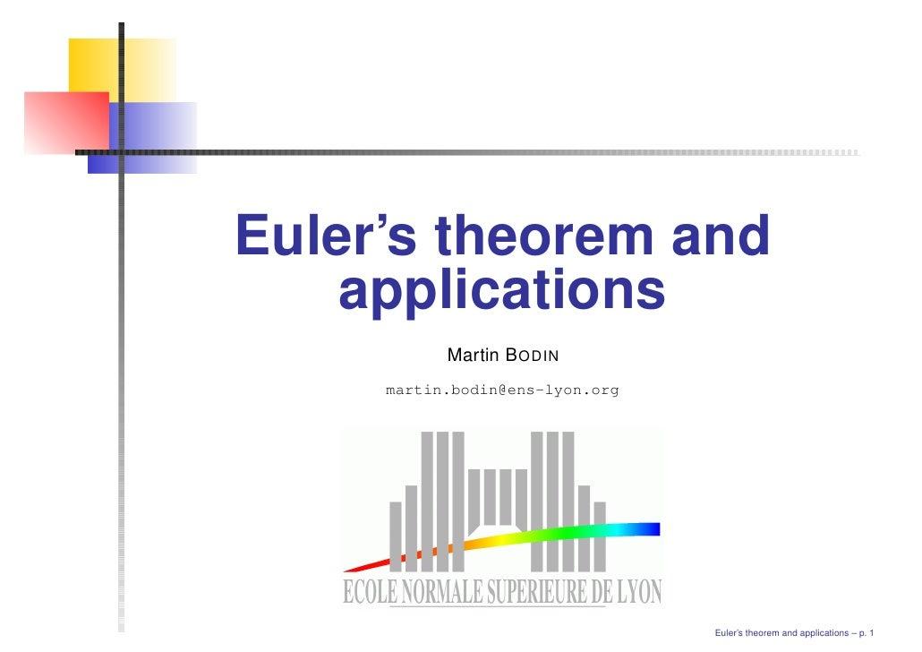 Euler's theorem and    applications           Martin B ODIN     martin.bodin@ens-lyon.org                                 ...