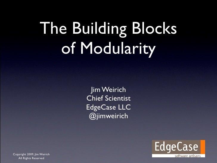 The Building Blocks Of Modularity