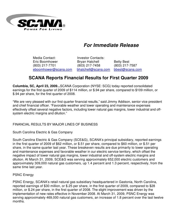 Q1 2009 Earning report of Scana Corp.