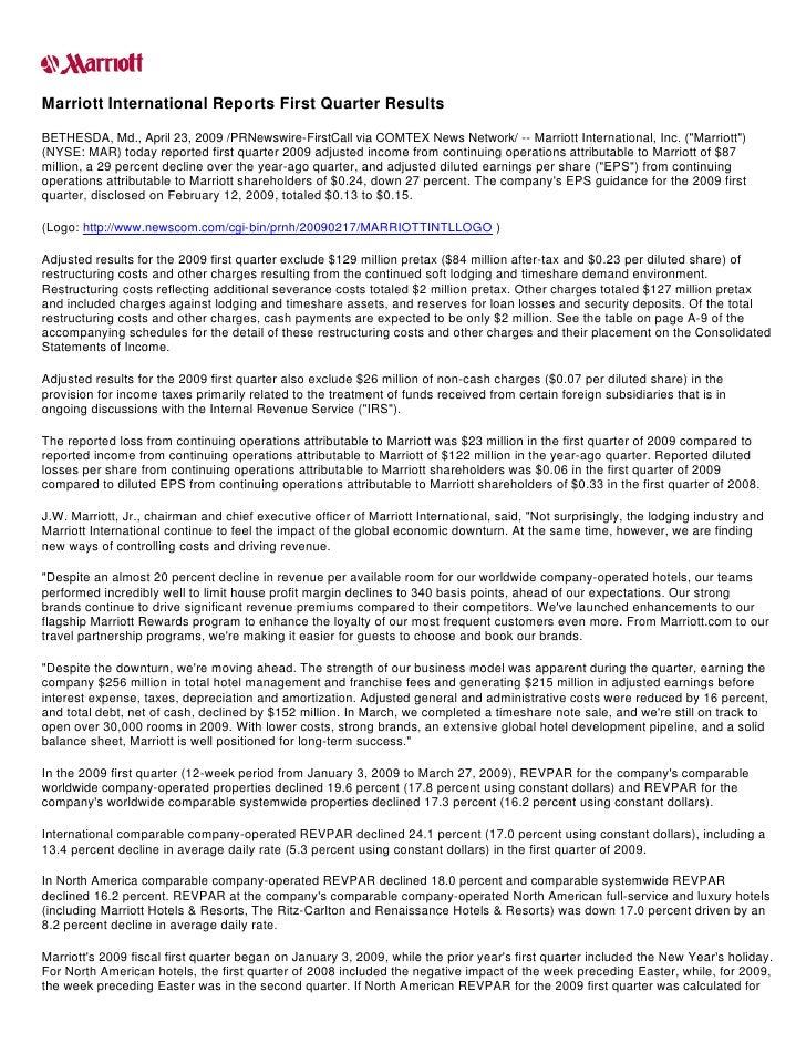 Marriott International Reports First Quarter Results BETHESDA, Md., April 23, 2009 /PRNewswire-FirstCall via COMTEX News N...