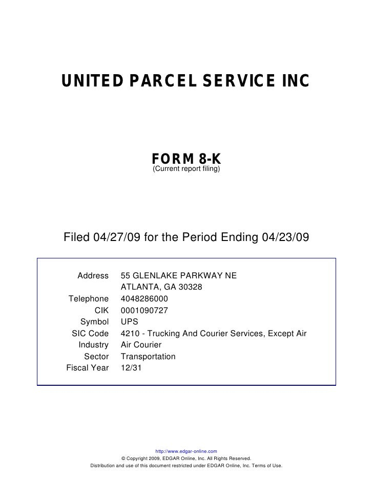Q1 2009 Earning Report of United Parcel Service, Inc.