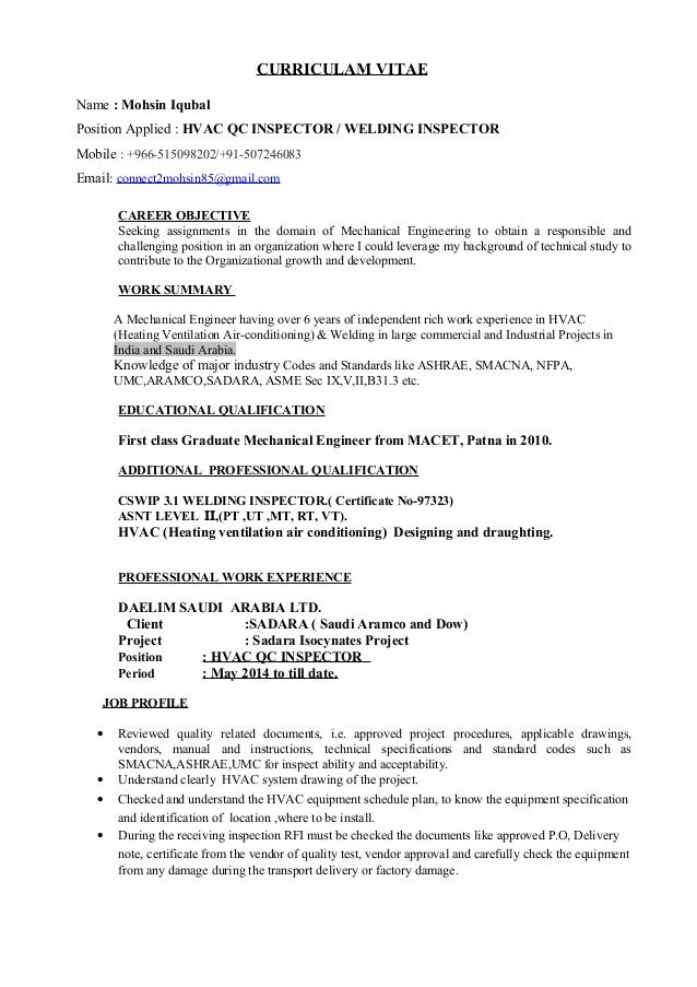 resume for qc inspector