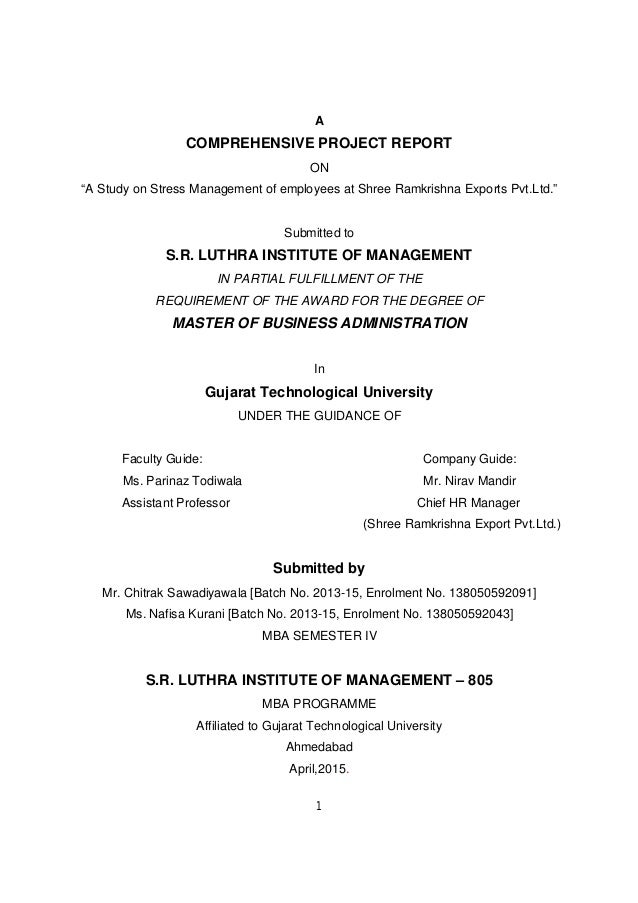 Dissertation project on stress management