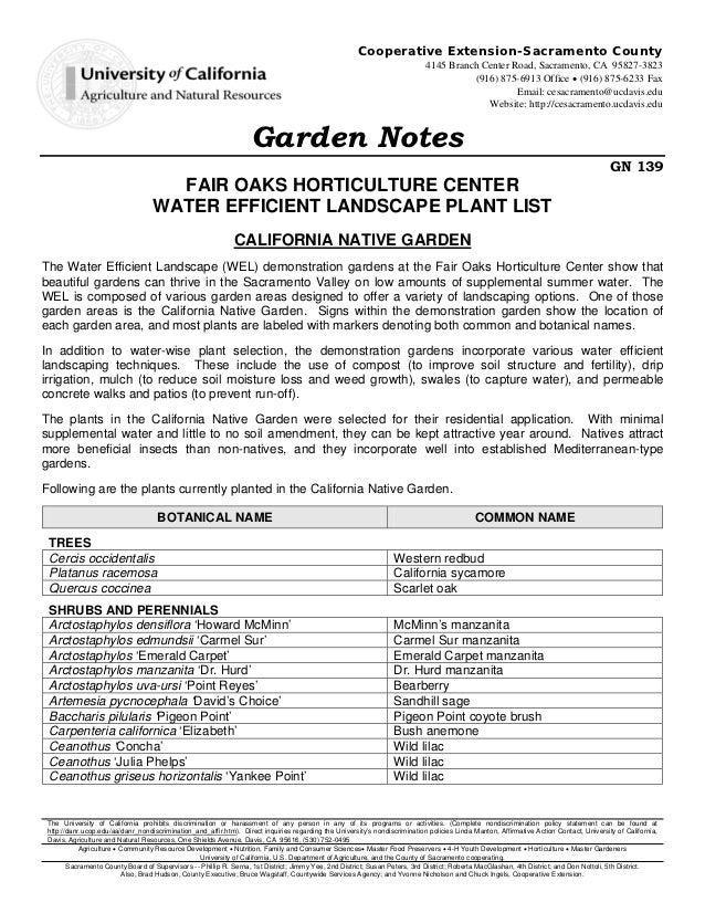 Fair Oaks Horticulture Center Water Efficient Landscape Plant List