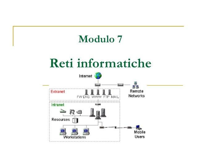 Modulo 7 Reti informatiche