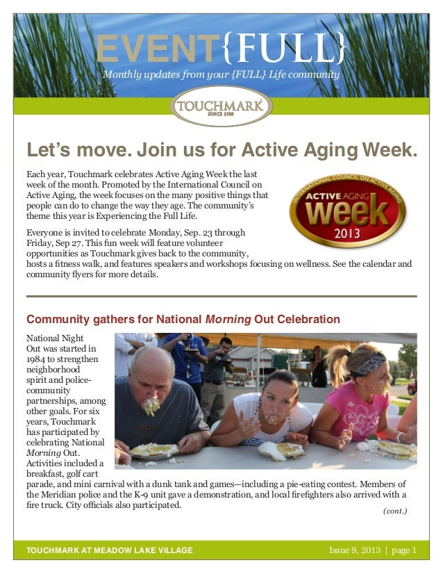 Touchmark at Meadow Lake Village - September 2013 Newsletter