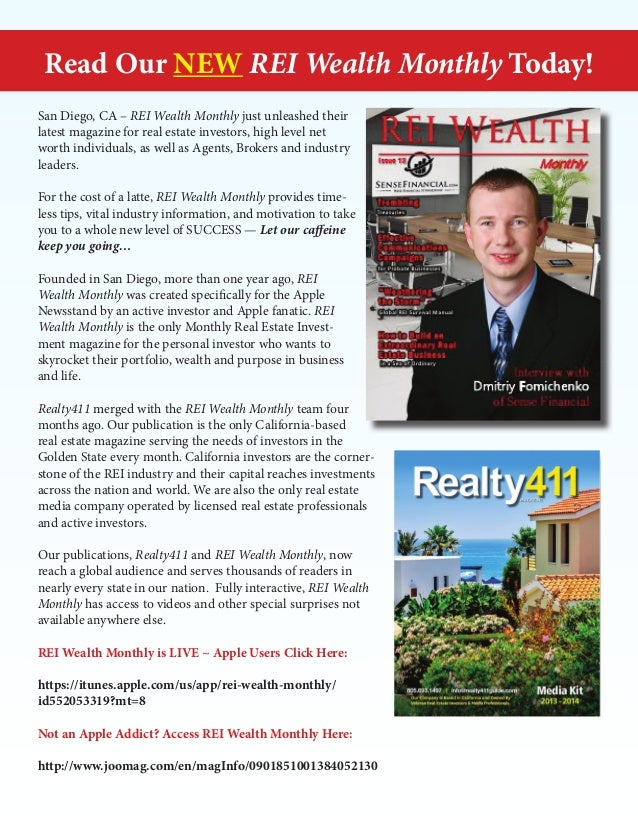 Read Our NEW REI Wealth Monthly Today! San Diego, CA – REI Wealth Monthly just unleashed their latest magazine for real es...