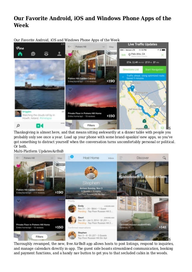 Our Favorite Android, iOS and Windows Phone Apps of the Week Our Favorite Android, iOS and Windows Phone Apps of the Week ...
