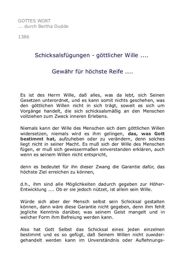 GOTTES WORT ... durch Bertha Dudde 1386 Schicksalsfügungen - göttlicher Wille .... Gewähr für höchste Reife .... Es ist de...