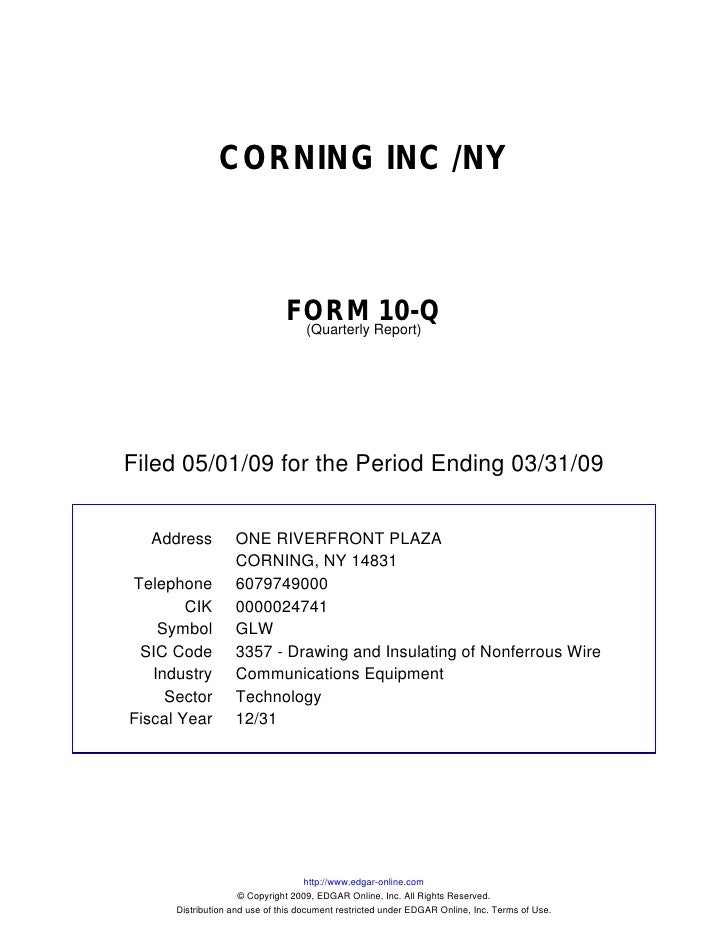 Q1 2009 Earning Report of Corning Inc.