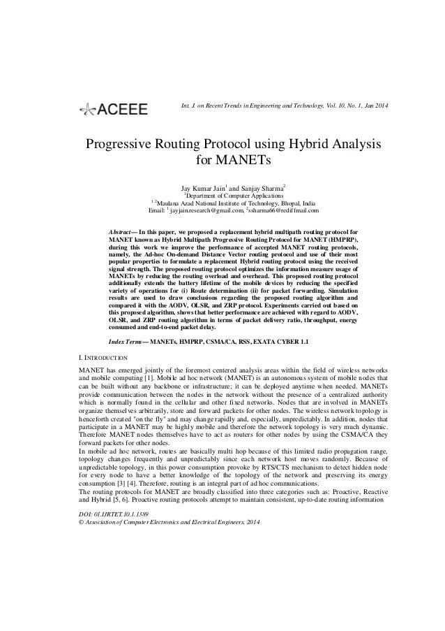 Progressive Routing Protocol using Hybrid Analysis for MANETs