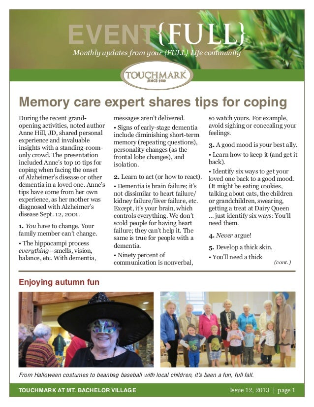 EVENT{FULL} Monthly updates from your {FULL} Life community  Memory care expert shares tips for coping During the recent g...