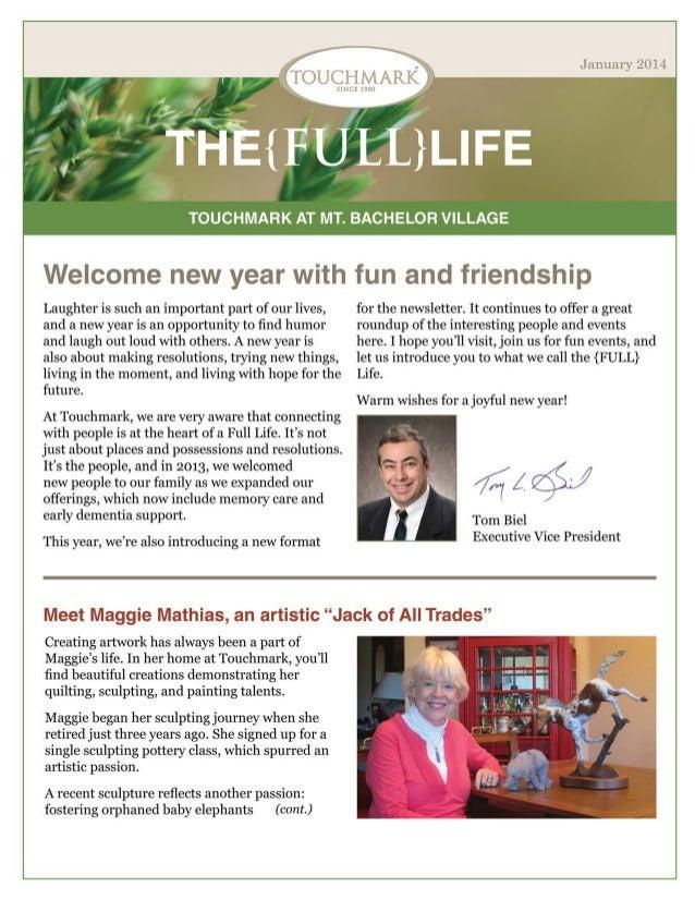 Touchmark at Mt. Bachelor Village - January 2014 Newsletter