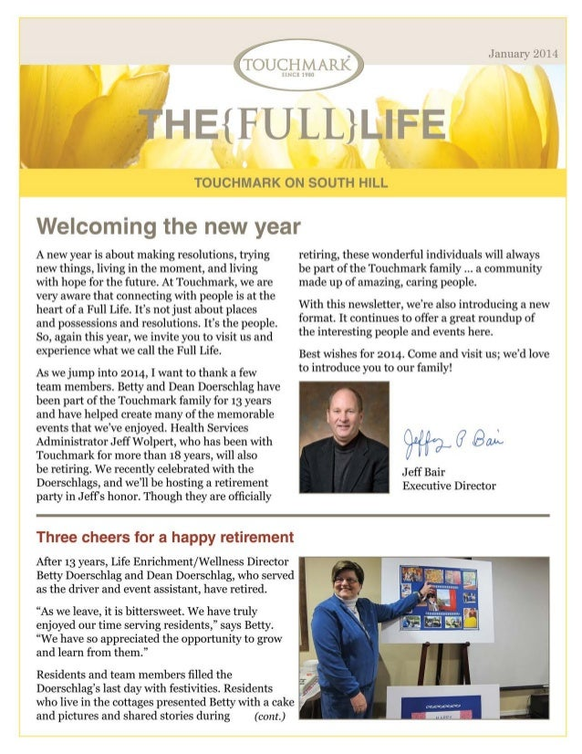 Touchmark on South Hill - January 2014 Newletter