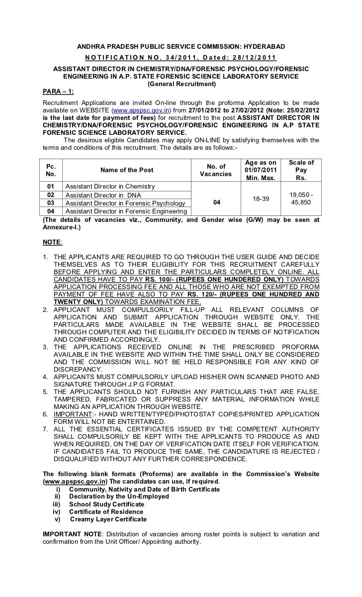 ANDHRA PRADESH PUBLIC SERVICE COMMISSION: HYDERABAD              NOTIFICATION NO. 34/2011, Dated: 28/12/2011  ASSISTANT DI...