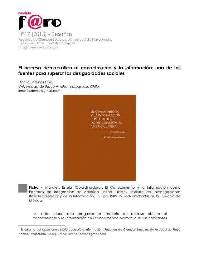 Nº17 (2013) - Reseñas Facultad de Ciencias Sociales, Universidad de Playa Ancha Valparaíso, Chile   e-ISSN 0718-4018 http:...