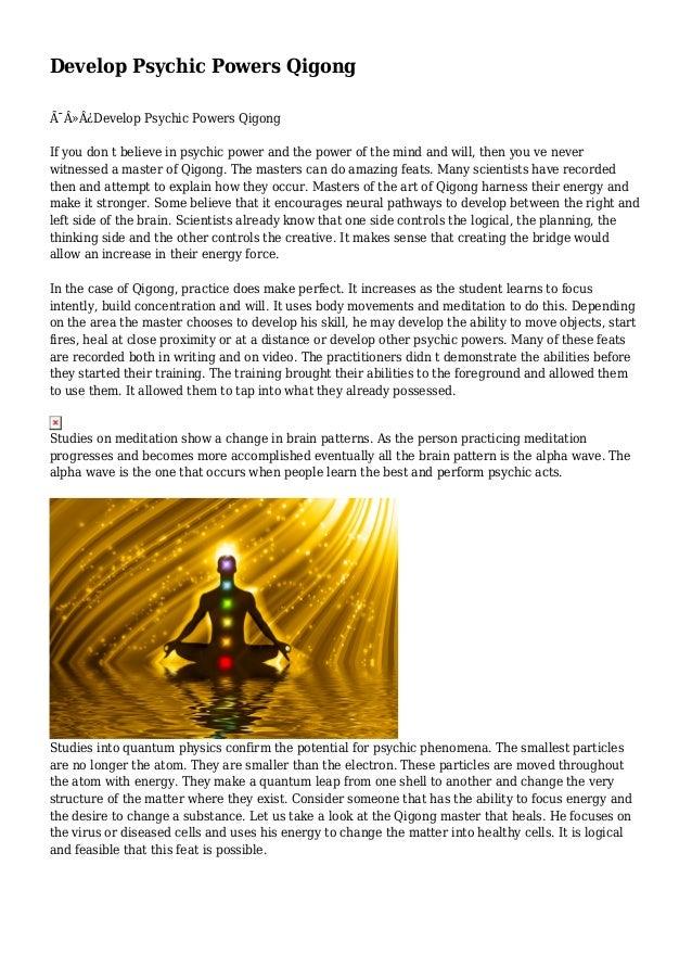 Develop Psychic Powers Qigong
