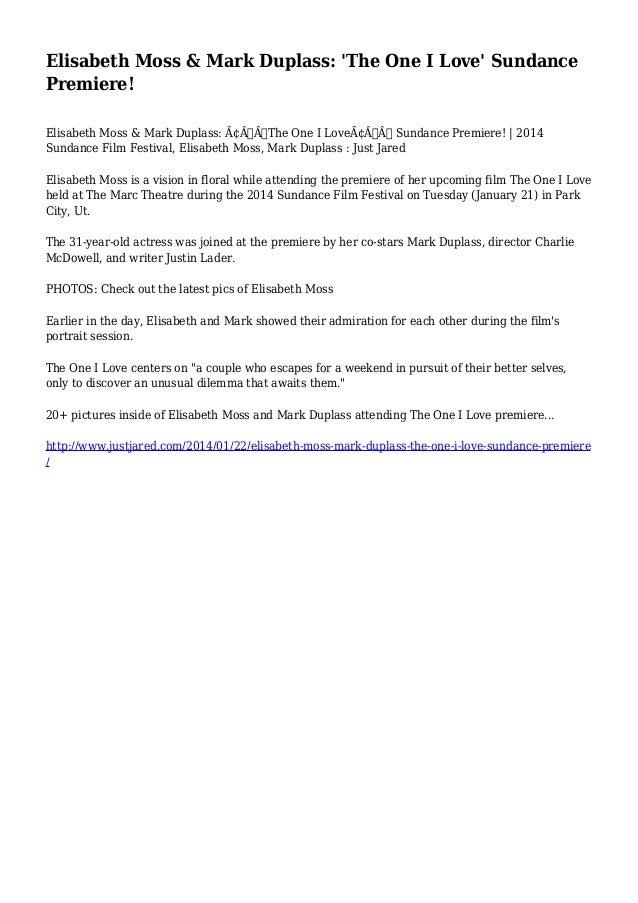 Elisabeth Moss & Mark Duplass: 'The One I Love' Sundance Premiere!