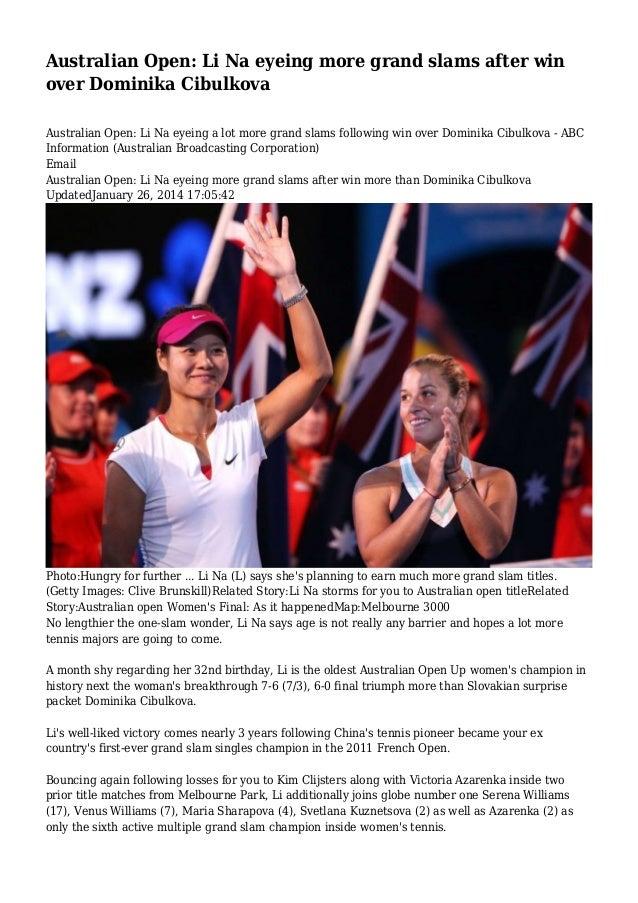 Australian Open: Li Na eyeing more grand slams after win over Dominika Cibulkova