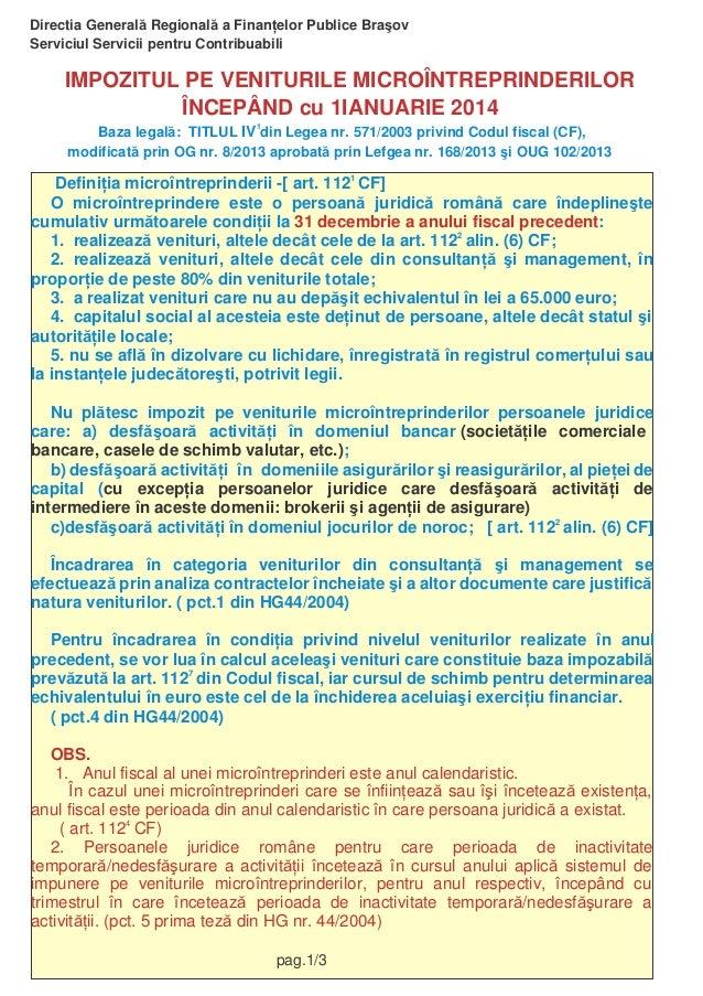 Directia General Regional a Finan elor Publice Bra ov Serviciul Servicii pentru Contribuabili  IMPOZITUL PE VENITURILE MIC...
