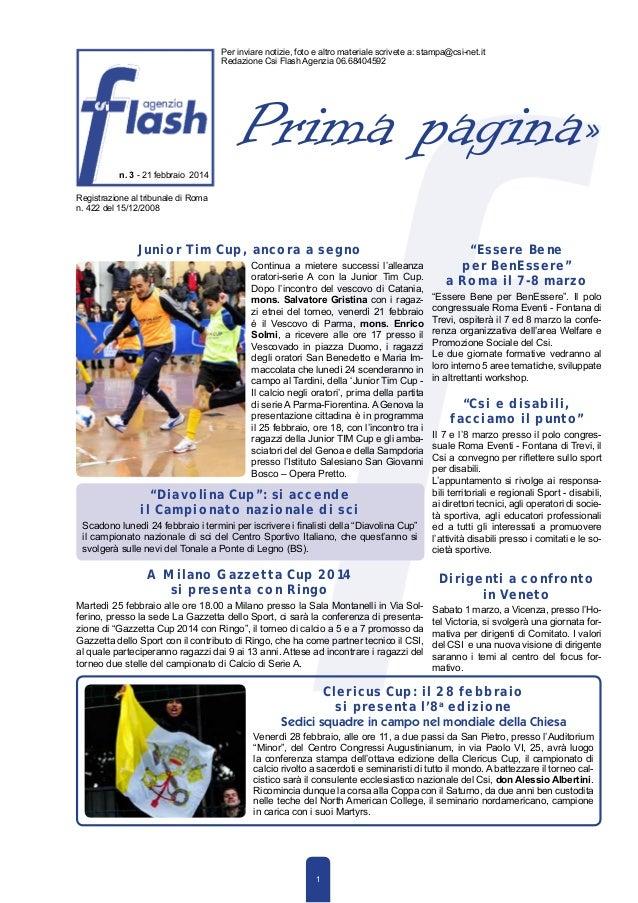 Flash agenzia n. 3 del 21 febbraio 2014