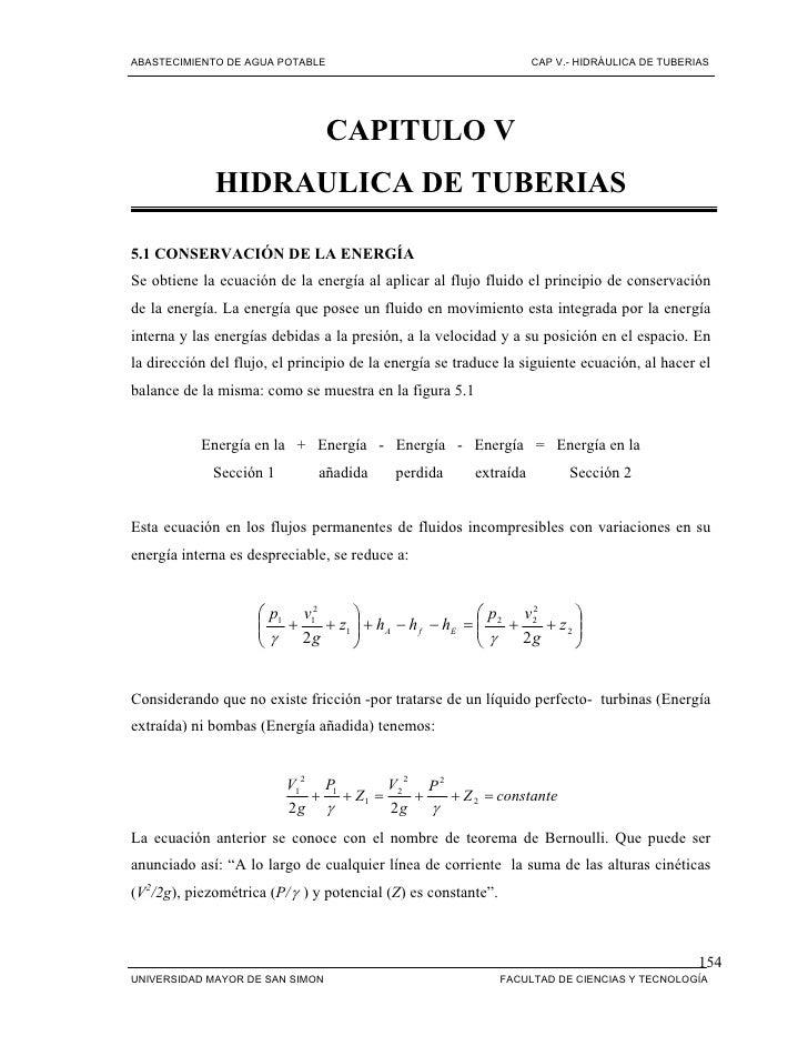 ABASTECIMIENTO DE AGUA POTABLE                                     CAP V.- HIDRÁULICA DE TUBERIAS                         ...