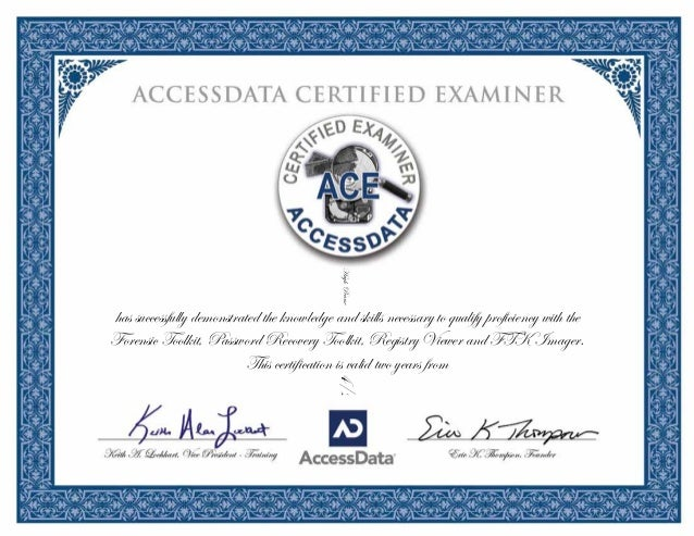 ACE forensics certification