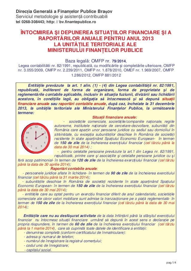 Direc ia General a Finan elor Publice Bra ov Serviciul metodologie i asisten contribuabili tel 0268-308443; http: // bv.fi...