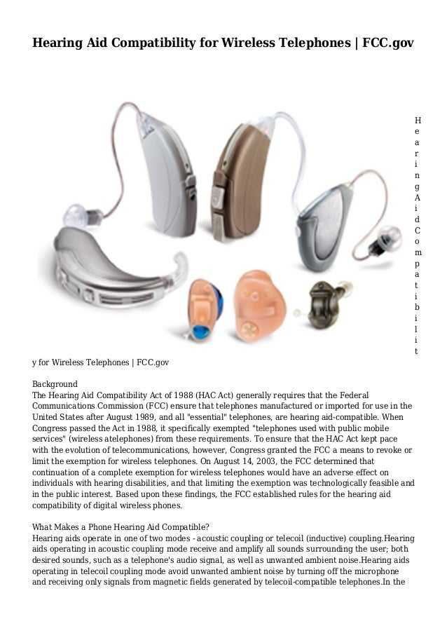 Hearing Aid Compatibility for Wireless Telephones   FCC.gov H e a r i n g A i d C o m p a t i b i l i t y for Wireless Tel...