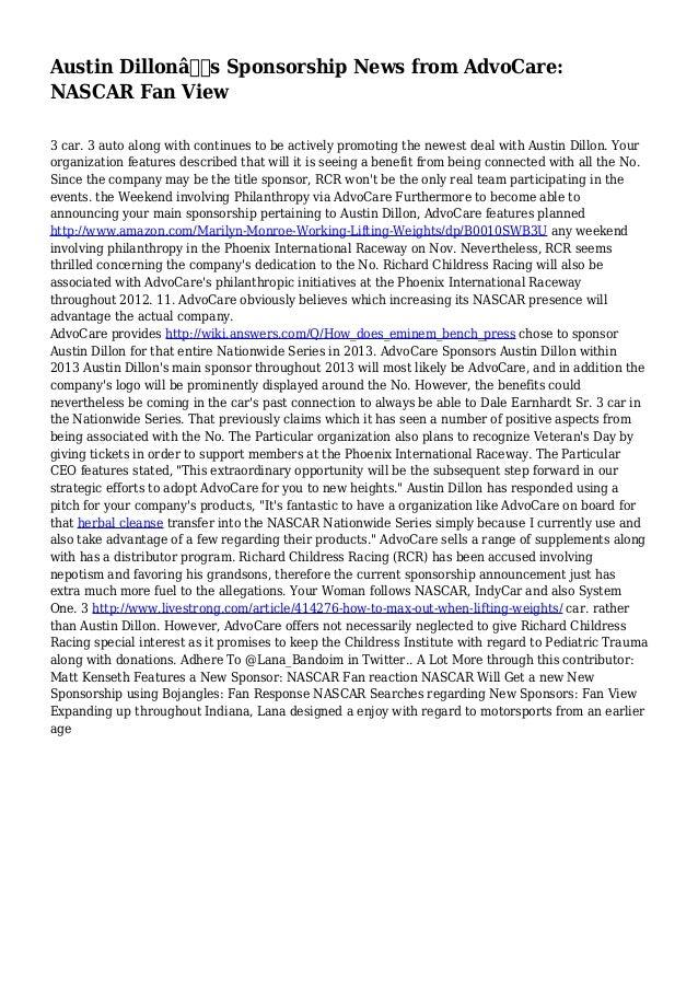 Austin Dillon's Sponsorship News from AdvoCare: NASCAR Fan View