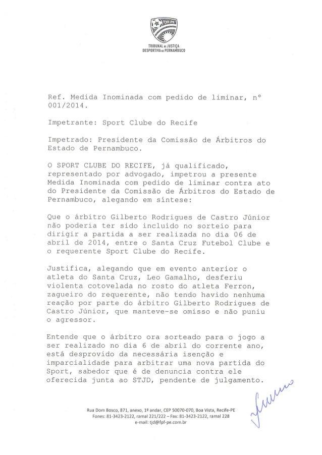 Despacho do TJD-PE que indefere pedido do Sport para novo sorteio para o Clássico das Multidões