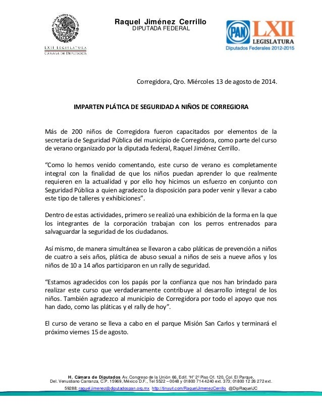 Raquel Jiménez Cerrillo DIPUTADA FEDERAL Corregidora, Qro. Miércoles 13 de agosto de 2014. IMPARTEN PLÁTICA DE SEGURIDAD A...