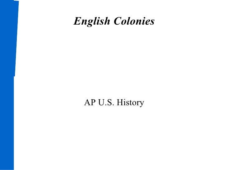 English Colonies AP U.S. History