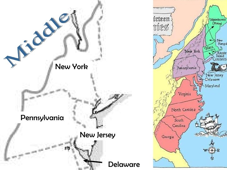 Map Of The Middle Colonies 13 colonies map and regional differences