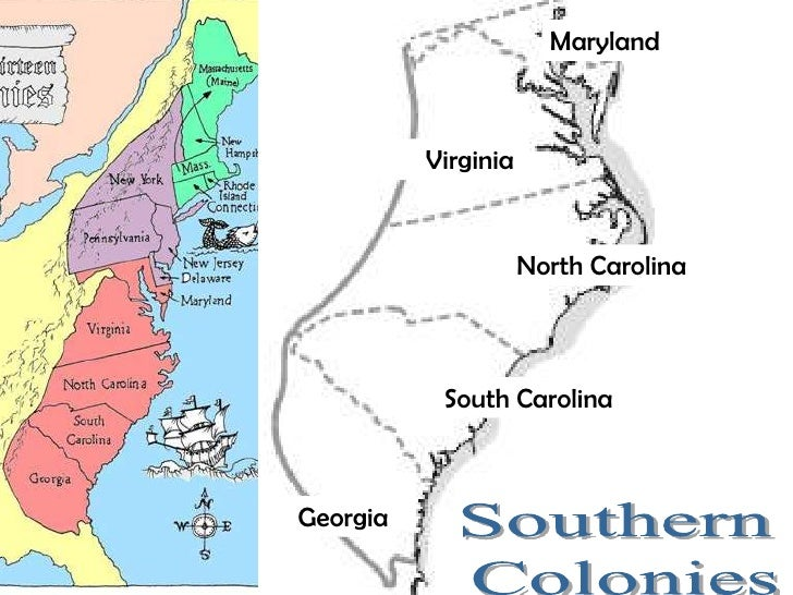 Southern Colonies Map Black And White 13 colonies map and regional ...