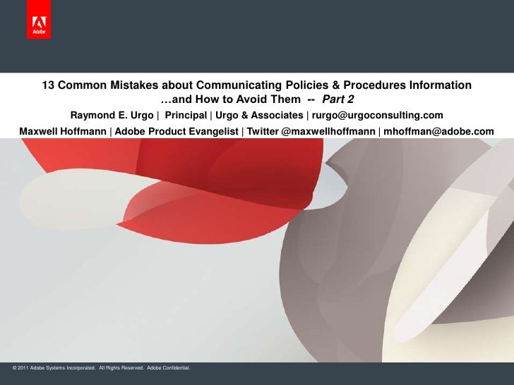 13 Common Mistakes about Communicating Policies & Procedures Information                               …and How to Avoid T...