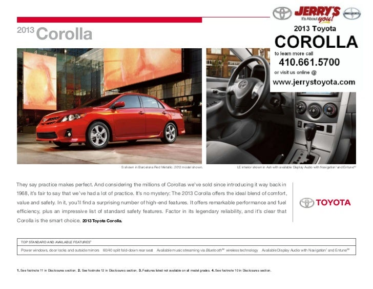 2013             Corolla                                                                           S shown in Barcelona Re...