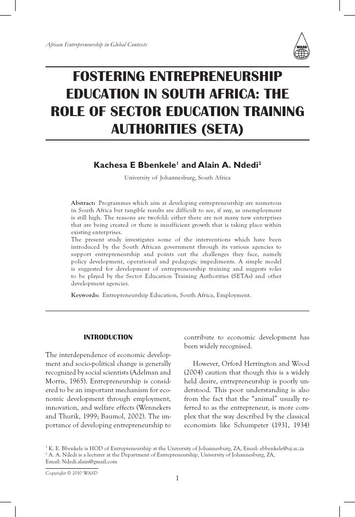 African Entrepreneurship in Global Contexts            FOSTERING ENTREPRENEURSHIP       EDUCATION IN SOUTH AFRICA: THE    ...