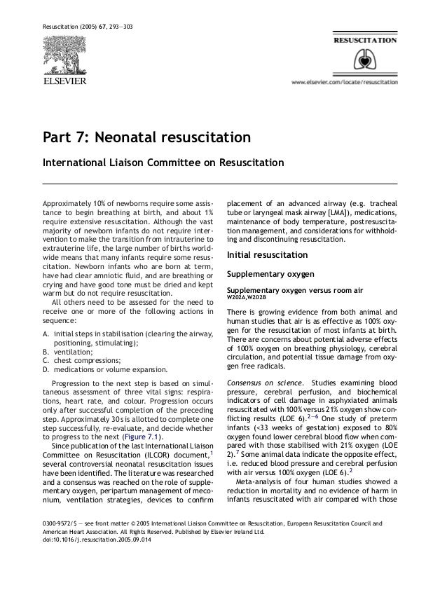 Resuscitation (2005) 67, 293—303Part 7: Neonatal resuscitationInternational Liaison Committee on ResuscitationApproximatel...