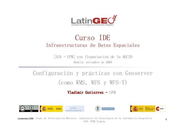 C IDECurso IDE Infraestructuras de Datos Espaciales [IGN + UPM] con financiación de la AECID Madrid, noviembre de 2009 Con...