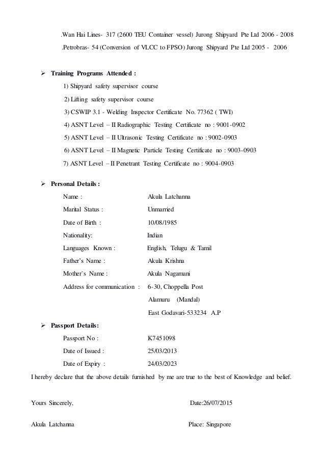 Class 2 inspector resume